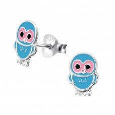 Owl - 925 Sterling Silver Colorful ear studs for kids A4S3680
