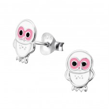 Owl - 925 Sterling Silver Colorful ear studs for kids A4S3683