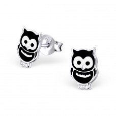 Owl - 925 Sterling Silver Colorful ear studs for kids A4S3684