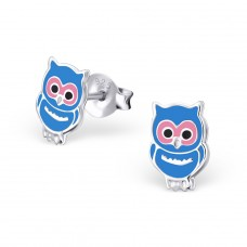 Owl - 925 Sterling Silver Colorful ear studs for kids A4S3685