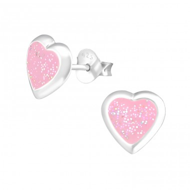 Heart - 925 Sterling Silver Colorful ear studs for kids A4S36931