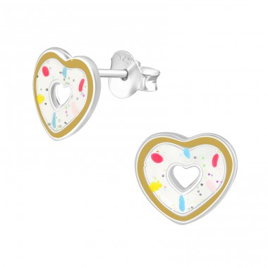 Heart Doughnut - 925 Sterling Silver Colorful ear studs for kids A4S36943