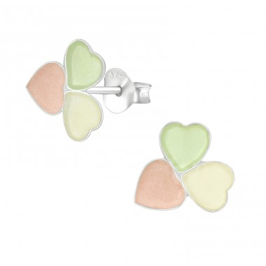 Triple Heart - 925 Sterling Silver Colorful ear studs for kids A4S36964
