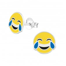 Tears Of Joy Emoji - 925 Sterling Silver Colorful ear studs for kids A4S36967