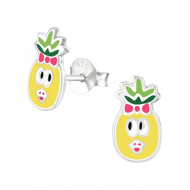Pineapple - 925 Sterling Silver Ear studs with enamel colors A4S36970