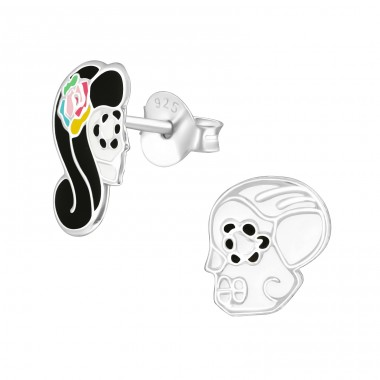 Skull - 925 Sterling Silver Colorful ear studs for kids A4S36977