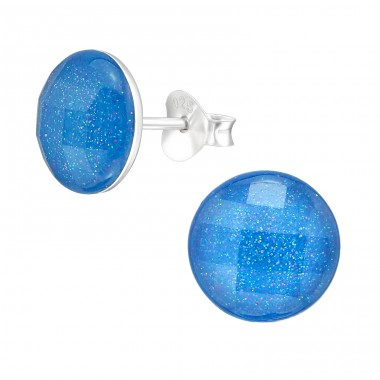 Round - 925 Sterling Silver Ear studs with enamel colors A4S36995