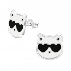 Cat - 925 Sterling Silver Colorful ear studs for kids A4S37045
