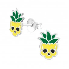 Pineapple Skull - 925 Sterling Silver Colorful ear studs for kids A4S37066