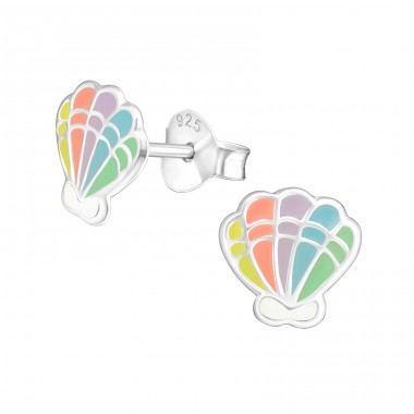 Shell - 925 Sterling Silver Ear studs with enamel colors A4S37137