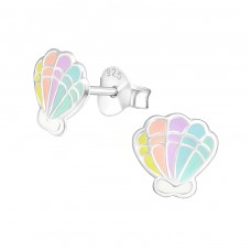 Shell - 925 Sterling Silver Colorful ear studs for kids A4S37137