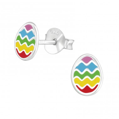 Egg - 925 Sterling Silver Colorful ear studs for kids A4S37139
