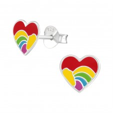 Heart - 925 Sterling Silver Colorful ear studs for kids A4S37142