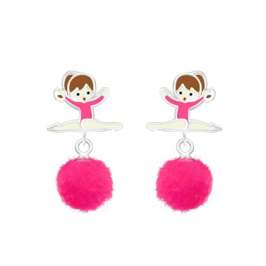 Ballerina - 925 Sterling Silver Ear studs with enamel colors A4S37158