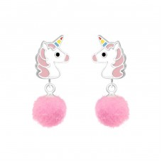 Unicorn - 925 Sterling Silver Colorful ear studs for kids A4S37163