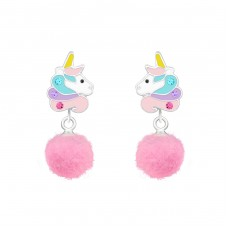 Unicorn - 925 Sterling Silver Colorful ear studs for kids A4S37166