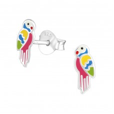 Parrot - 925 Sterling Silver Colorful ear studs for kids A4S37246