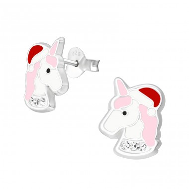Unicorn - 925 Sterling Silver Ear studs with enamel colors A4S37249