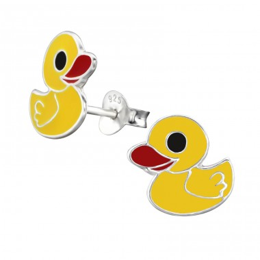 Duck - 925 Sterling Silver Colorful ear studs for kids A4S3729