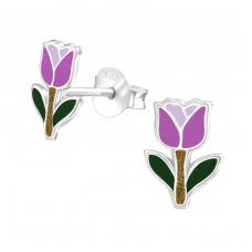 Tulip - 925 Sterling Silver Colorful ear studs for kids A4S37486