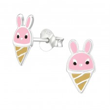 Bunny Ice Cream - 925 Sterling Silver Colorful ear studs for kids A4S37489