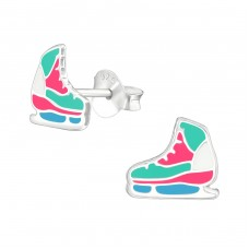 Ice Skating Shoes - 925 Sterling Silver Colorful ear studs for kids A4S37490