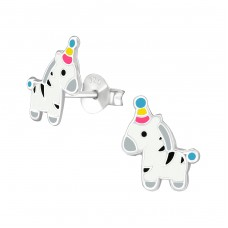 Zebra - 925 Sterling Silver Colorful ear studs for kids A4S37492