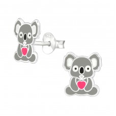 Koala - 925 Sterling Silver Colorful ear studs for kids A4S37495