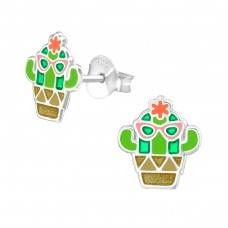 Cactus - 925 Sterling Silver Colorful ear studs for kids A4S37496