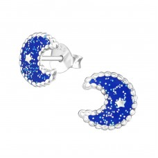 Moon - 925 Sterling Silver Colorful ear studs for kids A4S37514