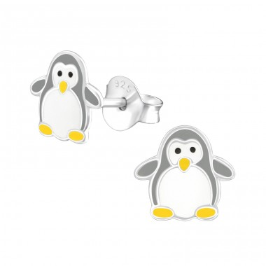 Penguin - 925 Sterling Silver Ear studs with enamel colors A4S37515