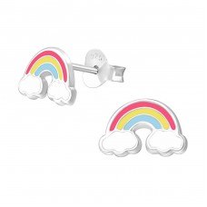 Rainbow - 925 Sterling Silver Colorful ear studs for kids A4S37570