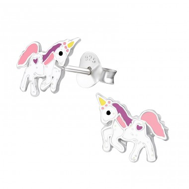 Unicorn - 925 Sterling Silver Ear studs with enamel colors A4S37571