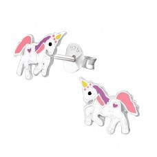 Unicorn - 925 Sterling Silver Colorful ear studs for kids A4S37571