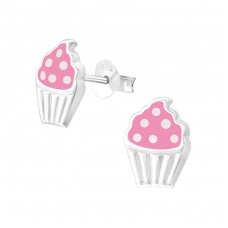 Cupcake - 925 Sterling Silver Colorful ear studs for kids A4S37572