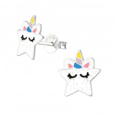 Star - 925 Sterling Silver Colorful ear studs for kids A4S37871