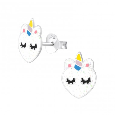Unicorn - 925 Sterling Silver Colorful Earrings For Kids A4S37872