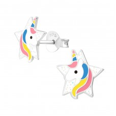 Unicorn - 925 Sterling Silver Colorful ear studs for kids A4S37873