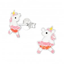 Unicorn - 925 Sterling Silver Colorful ear studs for kids A4S37887