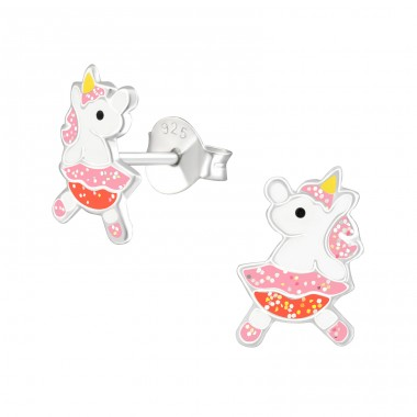 Unicorn - 925 Sterling Silver Ear studs with enamel colors A4S37887