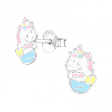 Mernicorn - 925 Sterling Silver Ear studs with enamel colors A4S37888
