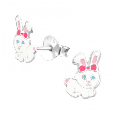 Rabbit - 925 Sterling Silver Colorful earrings for kids A4S37918