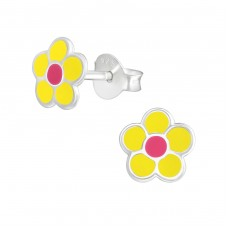 Flower - 925 Sterling Silver Colorful earrings for kids A4S37919