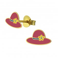 Hat - 925 Sterling Silver Colorful ear studs for kids A4S38004