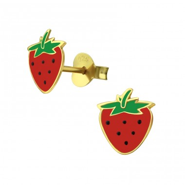 Strawberry - 925 Sterling Silver Colorful ear studs for kids A4S38006