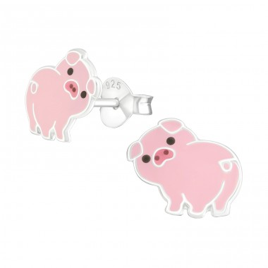 Pig - 925 Sterling Silver Colorful earrings for kids A4S38086