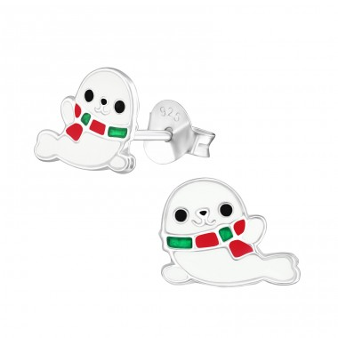 Seal - 925 Sterling Silver Colorful earrings for kids A4S38137