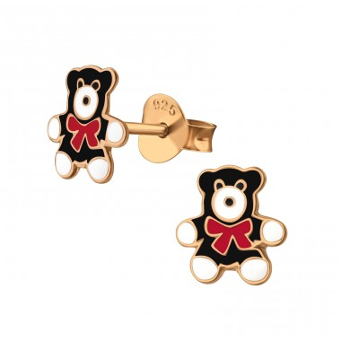 Bear - 925 Sterling Silver Colorful ear studs for kids A4S38157