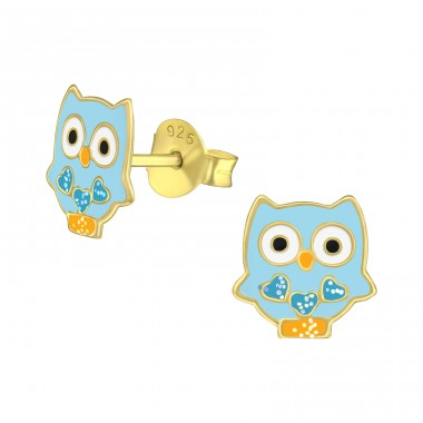 Owl - 925 Sterling Silver Ear studs with enamel colors A4S38161