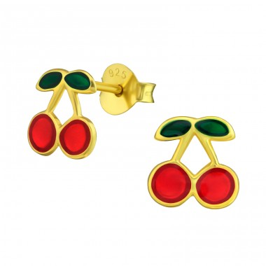 Cherry - 925 Sterling Silver Colorful ear studs for kids A4S38164